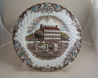 "Johnson Brothers Bros Heritage Hall Dinner Plate 9 3/4"" Brown Polychrome"