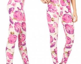 Pink Floral Leggings Pink Flower Leggings White Leggings Floral Print Leggings Printed Leggings Cotton Leggings Yoga FREE U.S. SHIPPING