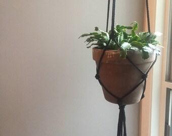 Black Macrame Plant Hanger - Three Knot Design