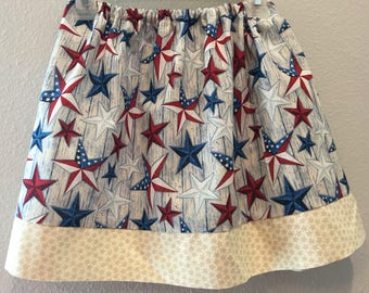 4th of July country stars in red, white, and blue skirt