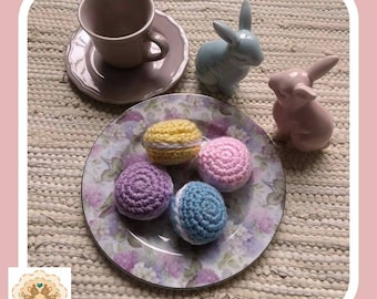 Crochet Macarons, Fake Macarons, Play Macarons, Crochet Cookies, Crochet Food, Kids Play Food, Children's Play Food, Kids Pretend Food