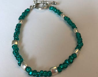 Teal Beaded Bracelet with Silver Accents
