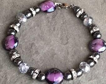 Purple and Gunmetal Beaded Bracelet