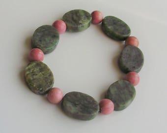 Pink Rhodonite and Green Serpentine