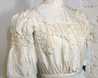 Late Victorian Silk Gown with Lace Details