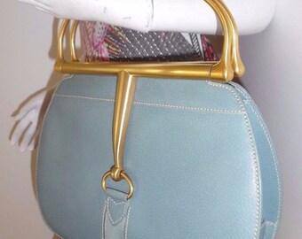 stunning vintage GUCCI snaffel bit  leather handbag made in ITALY aqua