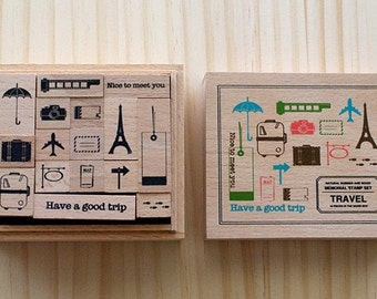 Wooden boxed - TRAVEL Stamps