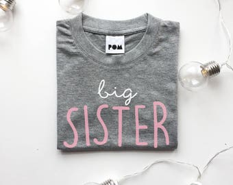 Big Sister T-shirt - cute kids t-shirt, sibling sets, birthday gift - POM CLOTHING