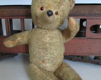 Antique Mohair Toy Teddy Bear Excelsior Original Pads Glass Eyes