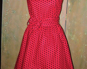 Red Polka Dot fit and flair dress
