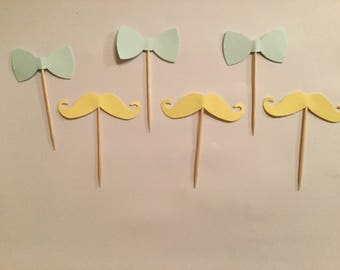 Bow tie and Moustache cupcake toppers