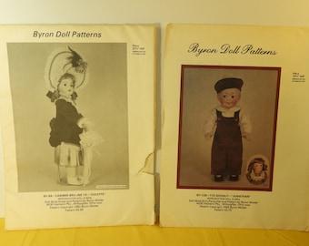 "Vintage Byron Doll Patterns (2),Doll 15.5"" BY-129-172 Googly-""Jonathan"" Doll,Byron 27.5"" BY-69-Casimur Bru Jne 13 -""Colette"" Pattern Craft"