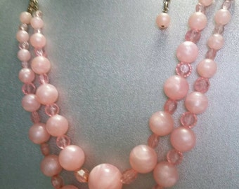 Coro pinks vintage double stand graduated pink beaded necklace