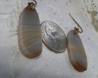 Agate gemstone earth tones vintage earrings