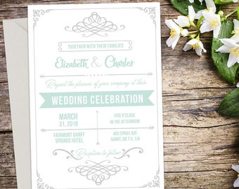 Printed Rustic Wedding Invitation, Printed Invitation, Rustic Wedding, Printable Wedding, Printed Wedding invitation