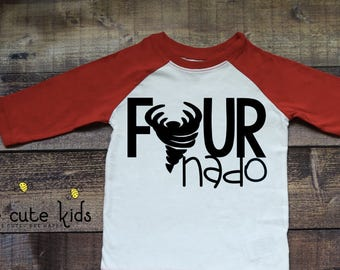 Kids Birthday Shirt - Fournado Shirt - 4th Birthday Shirt - Kids Birthday Raglan - 4th Birthday Raglan - Birthday Baseball Tee - Fournado