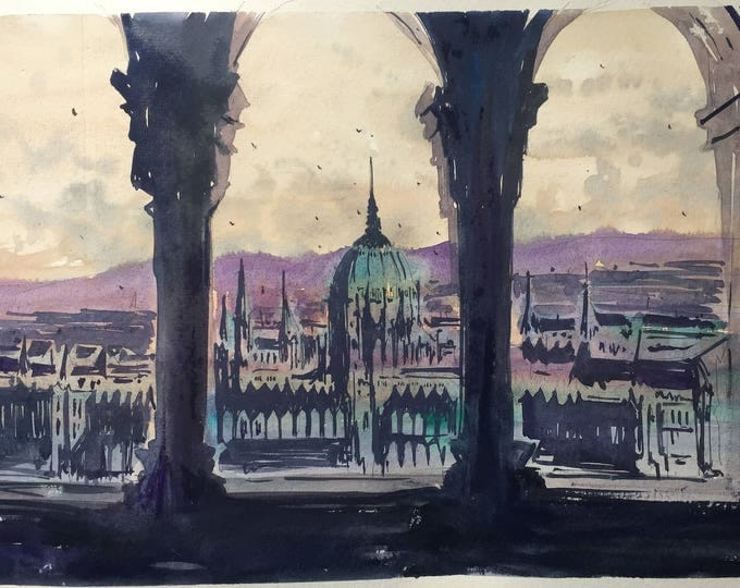 Watercolor painting of Budapest with Hungarian parliament in the back