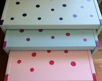 Solid Pine Hand Painted Polka Dot Tables