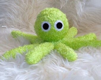 Octopus Octopi Green Stuffed Animal Hand Stitched Sock Critter stuffy cuddly toy fuzzy lovies ocean sea kraken cthulhu