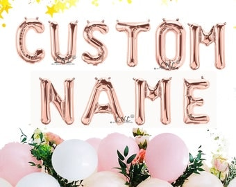"Rose Gold Balloon, Custom Name, Custom, 16"" Rose Gold Letter & Number balloons, Balloons Garland, Rose Gold, Birthday Balloons"