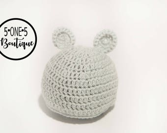 Newborn hat with ears.