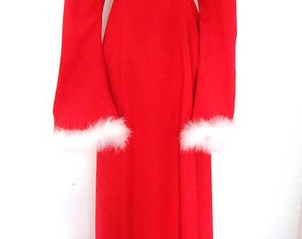 Vintage 70s Angel Bell Sleeve Feather Red Maxi Dress S