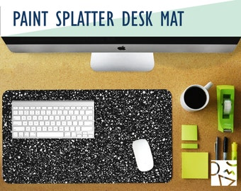 Paint Speckle Print Desk Mat with Available Custom Monogram - 2 Sizes - High Quality Digital Print, Extended Mouse Pad - Desk Accessory