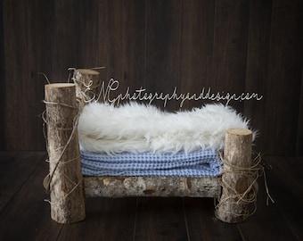 Newborn digital backdrop blue bed
