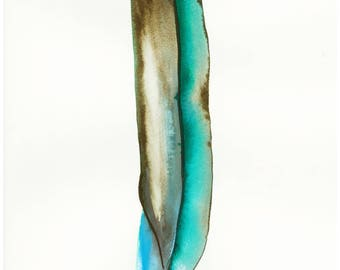 Turquoise feather A4 Ink  Wall Art Print