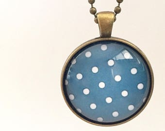 Blue and White Polka Dot Glass Pendant Necklace