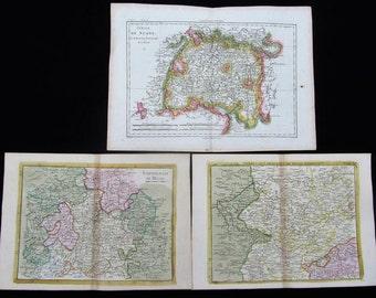 3 tinted, historical maps 18 JH, Hesse, Swabia, Bavaria, Germany