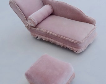 Pink Chaise Longue and Footstall