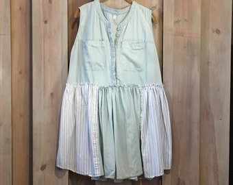 Babydoll Tunic, Upcycled Clothing, Pale Blue, Loose Bottom Tunic, Refashioned Clothing, Sleeveless Tunic, Lightweight Tunic, Tattered Tunic