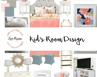Kid's room interior design: Digital service for kid's room decor | Mood board, product list and space plan delivered via email