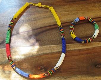 African Zulu Beaded Necklace, Bracelet and Earrings Set