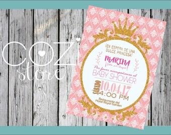 Invitation Baby Shower Crown Glitter girl gold Digital