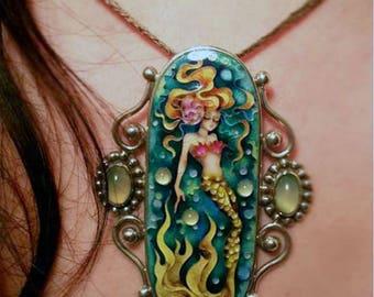 Mermaid. Pendant.  cloisonne enamel with stone chrysoprase , silver