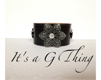 Black Leather Floral Cuff
