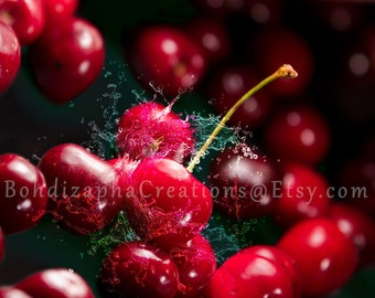 Cherry Fruit Wall Art Photography in Canvas, Metal, or Photo Paper Print; Cherry Splash