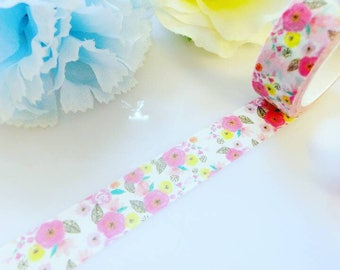 Pink Fuschia Yellow Flowers Washi Tape Floral Masking Decorative Tape