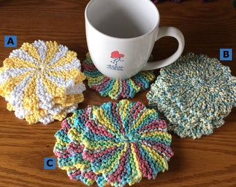 Knitted coaster, set of 4, beverage coaster, coaster, drink coaster, cotton coasters, round coasters, tea party, gift, linen, 4th of July