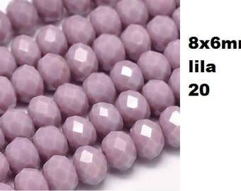 Polished, faceted 8x6mm, 10 beads, glass beads, jewelry beads, red,