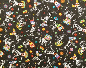 Dog fabric - sugar skull skeleton - black dog cotton - fun dog print - sugar skull fabric - dogs and bones fabric - animal print fabric