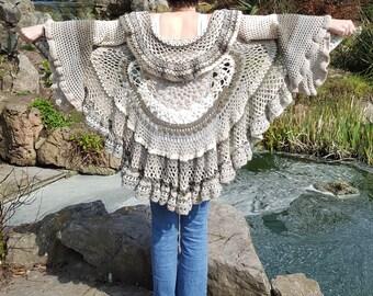 Festival Clothing - Crochet Stevie Nicks Style Circular Bohemian Lotus Hippie Mandala Duster Jacket / Coat / Cardigan - S/M/L Size 8-18