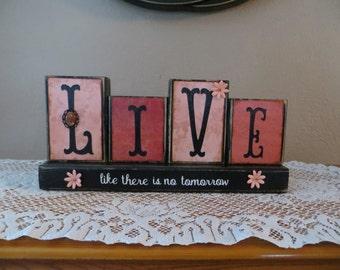 Live Wood Blocks Home Family Love Home Decor Wedding Gift Tomorrow