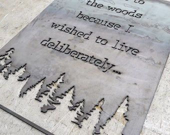 2 Ft Live Deliberately Sign - Custom Metal Sign - Henry David Thoreau
