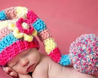 long tail crochet hat RAINBOW  flower beanie hat long tail cap/hat multicolor hat for baby pompom hat 1st photo taken hat baby shower gift