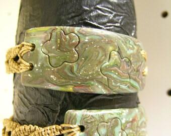 polymer flower sliding cord macrame bracelet