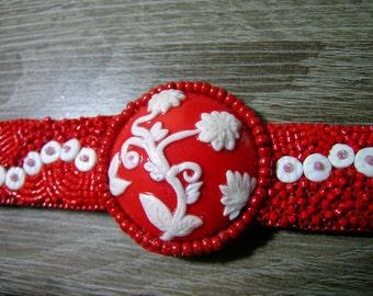Bracelet beads embroidered flower polymer
