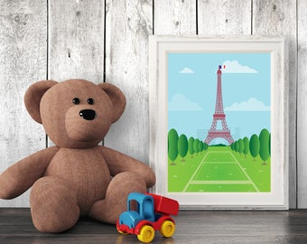 Architecture Nursery Print, Paris, Wall Art, Kids Art, Nursery Decor, Printables